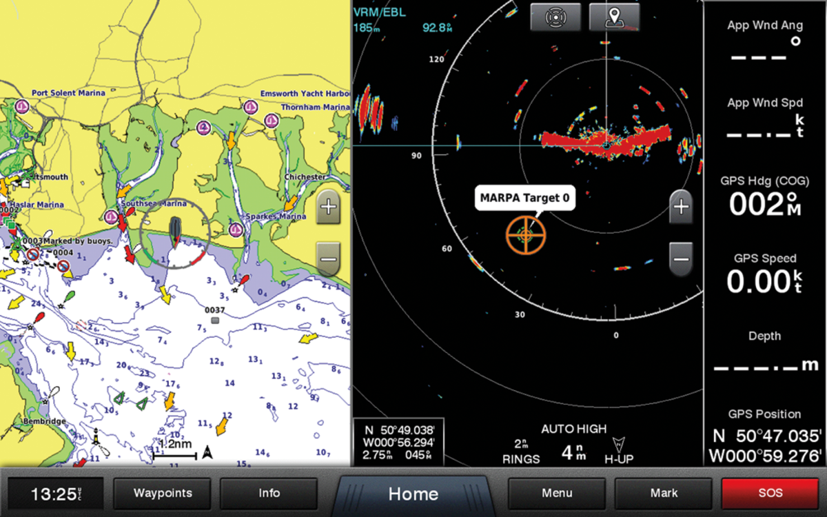 A Garmin radar unit showing a split screen overlay with a MARPA target identified