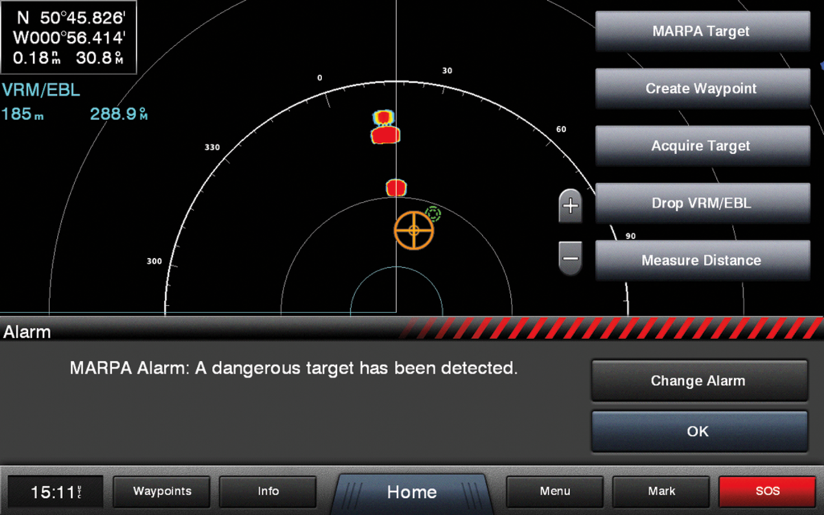 "The screen showing the MARPA alarm notifying the user that ""a dangerous target has been detected"""