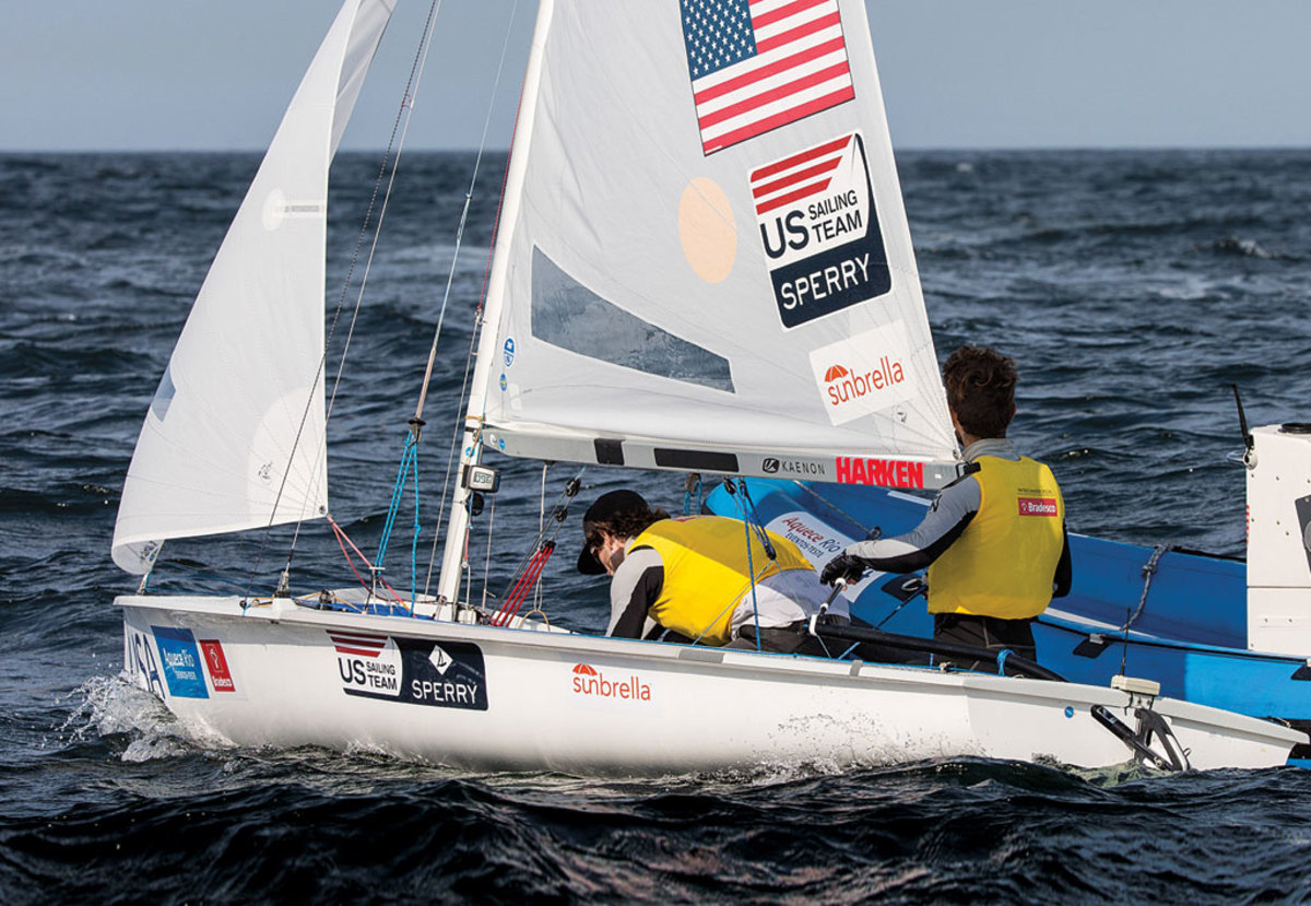 Top-quality coaching has been a priority since the very beginning of this Olympiad: here US Sailing Team Sperry coach Dave Dellengbaugh works with 470 sailors Stu McNay and Dave Hughes on the same waters where the Olympic regatta will be held