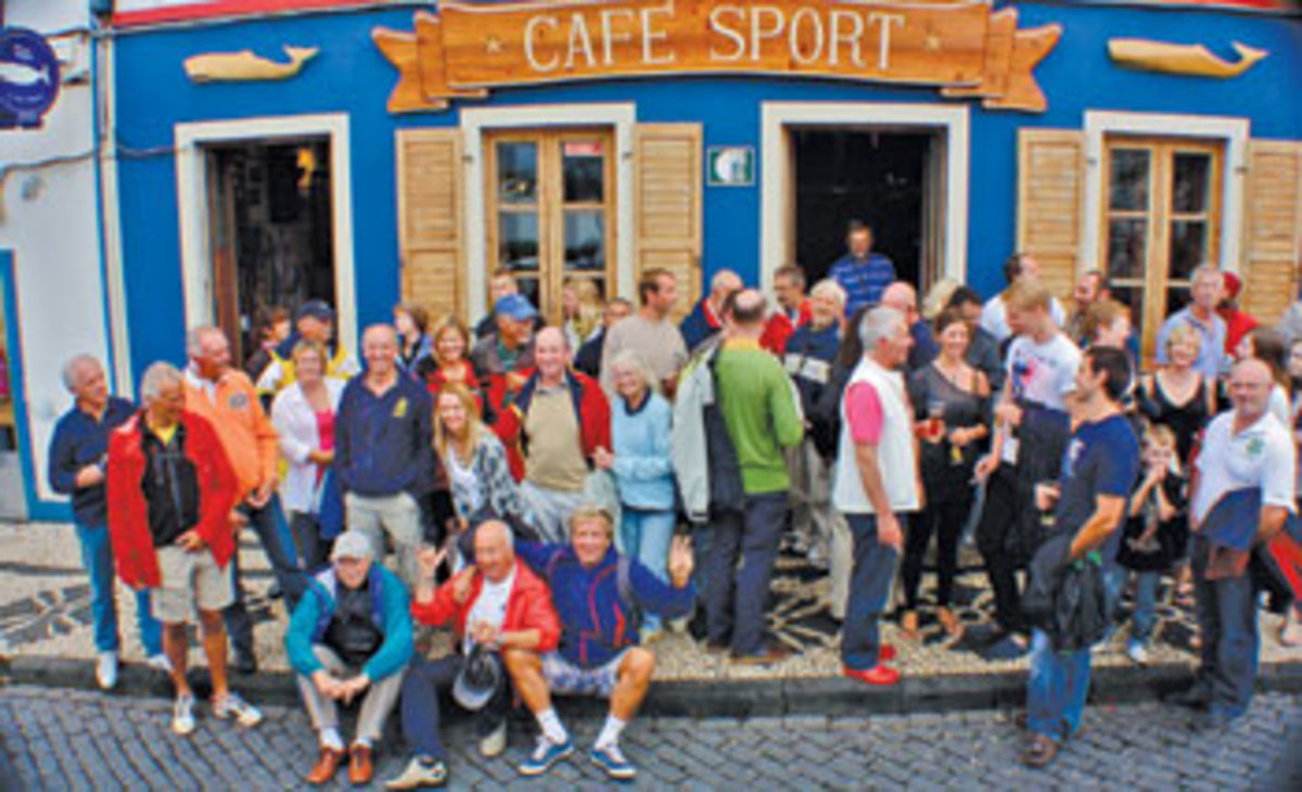 Rally participants gather at Peter's Cafe Sport. Photo courtesy of World Cruising Club