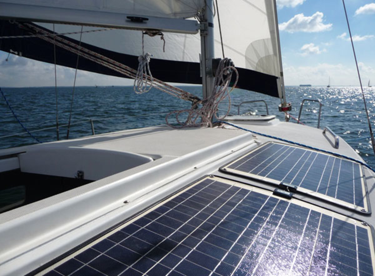 A nice array of flexible solar panels mounted on deck helps keep the battery bank charged