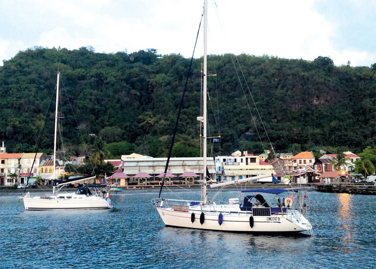At anchor in Saint-Pierre, a tiny town on the northern end of Martinique