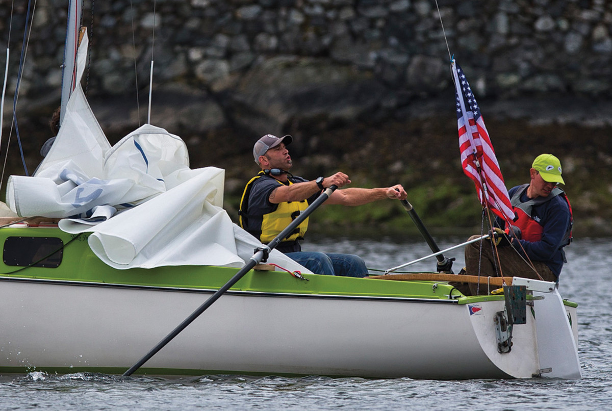 Green Culshan, a San Juan 21, was fitted out with oars for the race—when the wind didn't cooperate, elbow grease did