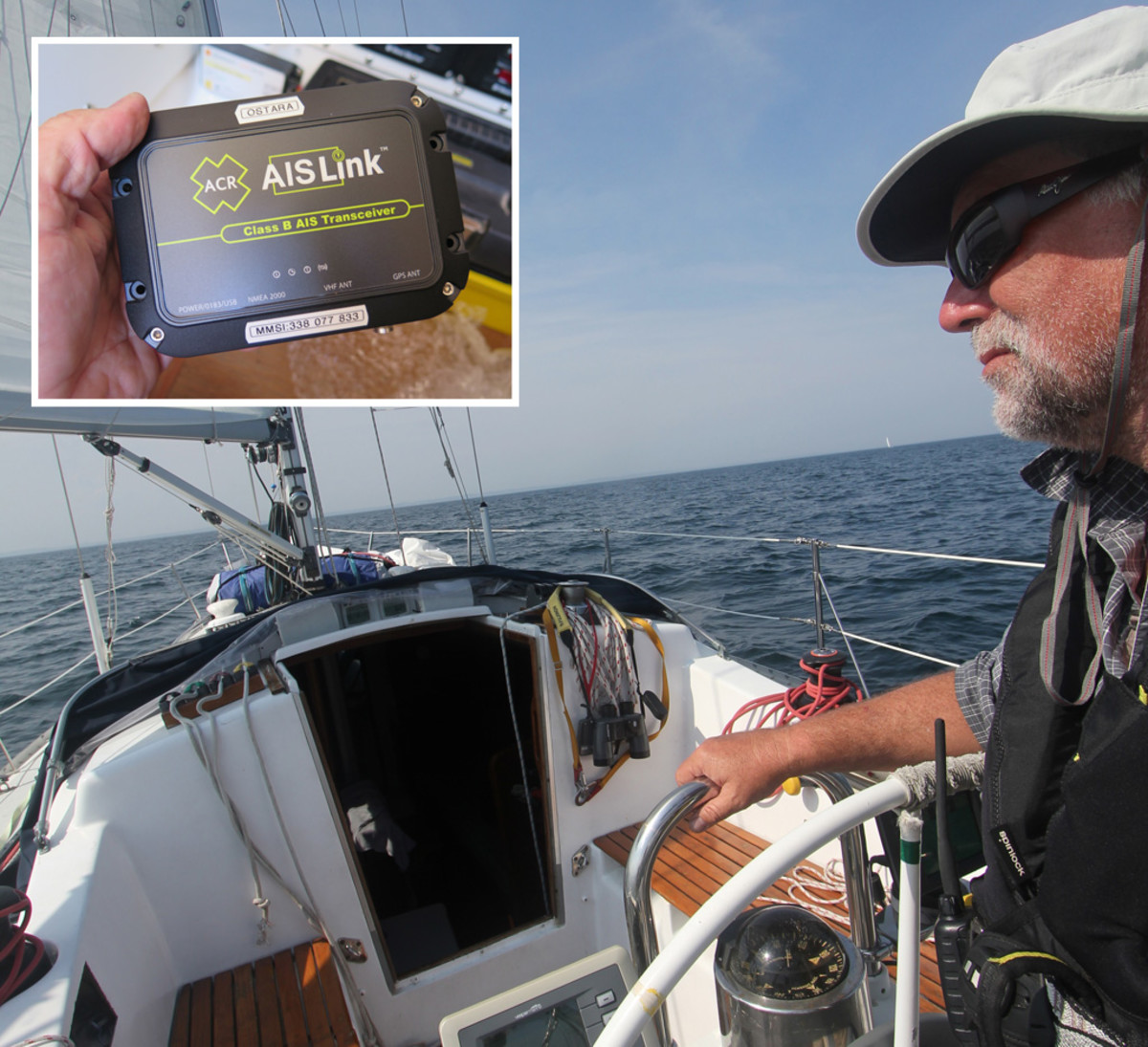 This cruising boat has a Vesper Watchmate AIS display at the helm; an antenna splitter enables the ship's existing VHF antenna to be used