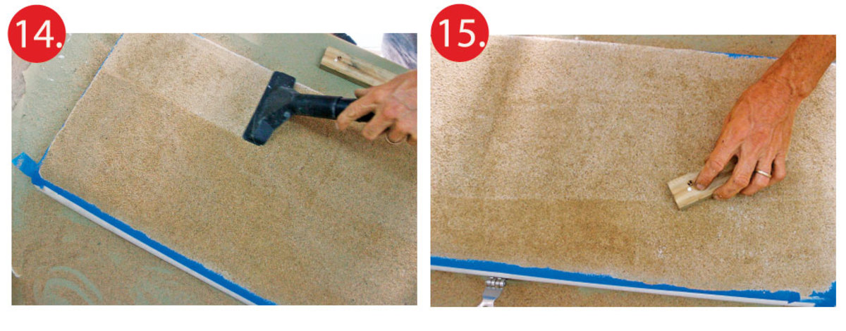 14. When paint is dry, remove loose sand with a brush or vacuum cleaner 15. Smooth off high spots with a piece of wood before applying more paint