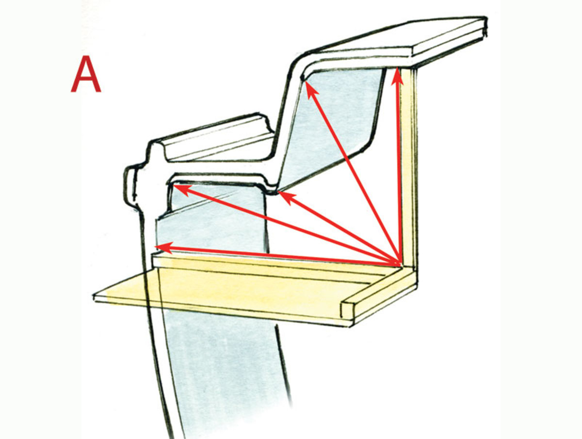 A. Because the interior dimensions on a boat are rarely straight, whenever you are thinking about adding a small locker or bulkhead you must measure, cut and trim the panels very carefully. Make sure the boat is horizontal so you can use a spirit level, along with an integrated laser, to project datums across the boat. Once you establish a fixed datum point, transfer as many measurements as possible to a pattern made of cardboard or hardboard. After cutting the pattern, put it in place and make sure it fits correctly before you start to cut the actual pieces of wood or plywood.