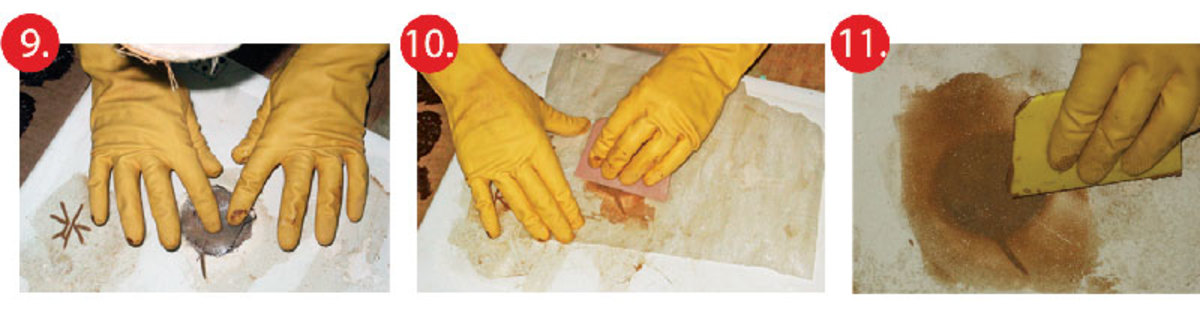 9. Put on a pair of gloves and then take the circles of wetted mat and cloth put them, in alternating layers, into the hole 10. Cover the repaired area with a sheet of polyethylene and then squeegee flat11. When epoxy has cured, sand down high spots and then fill in low spots