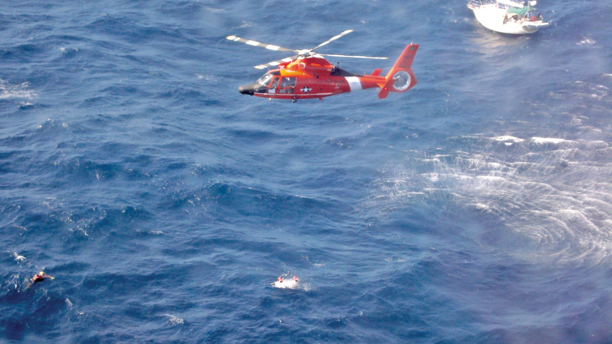 If you ever find yourself in this scenario, you'll be glad you had a satellite beacon onboard. Photo courtesy of USCG