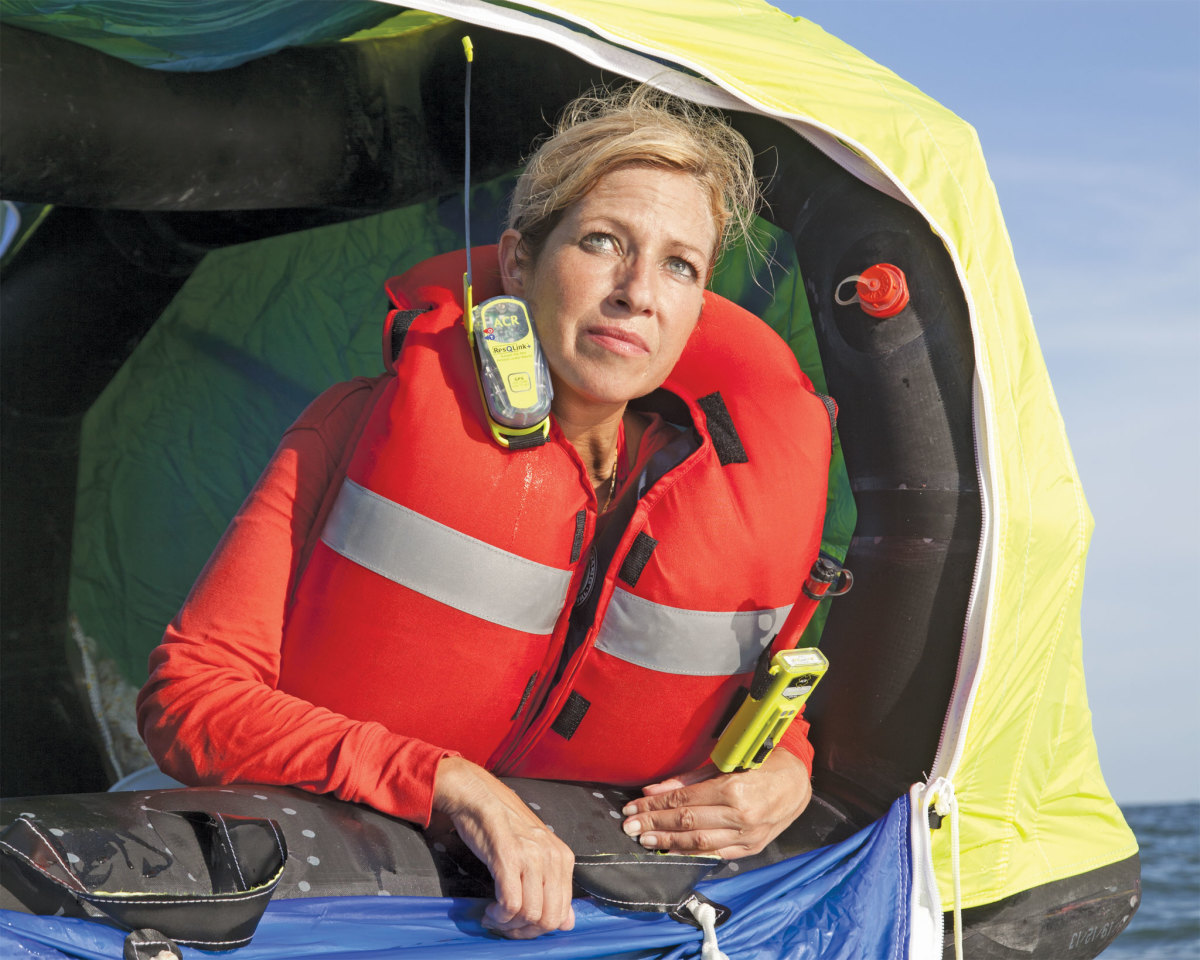A personal locator beacon, like this ACR ResQLink PLB, can be attached to a life jacket; it will broadcast both a distress signal on 406MHz to overhead satellites, and a homing signal on 121.5MHz to nearby rescue units