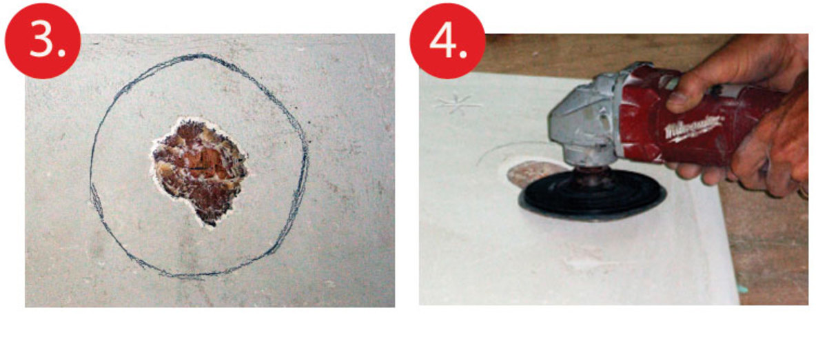 3For large repairs draw a circle around the damaged area and make its radius eight times the depth of the hole 4Feather out the hole so it rises steadily from the bottom of the hole up to the outer edge of the circle