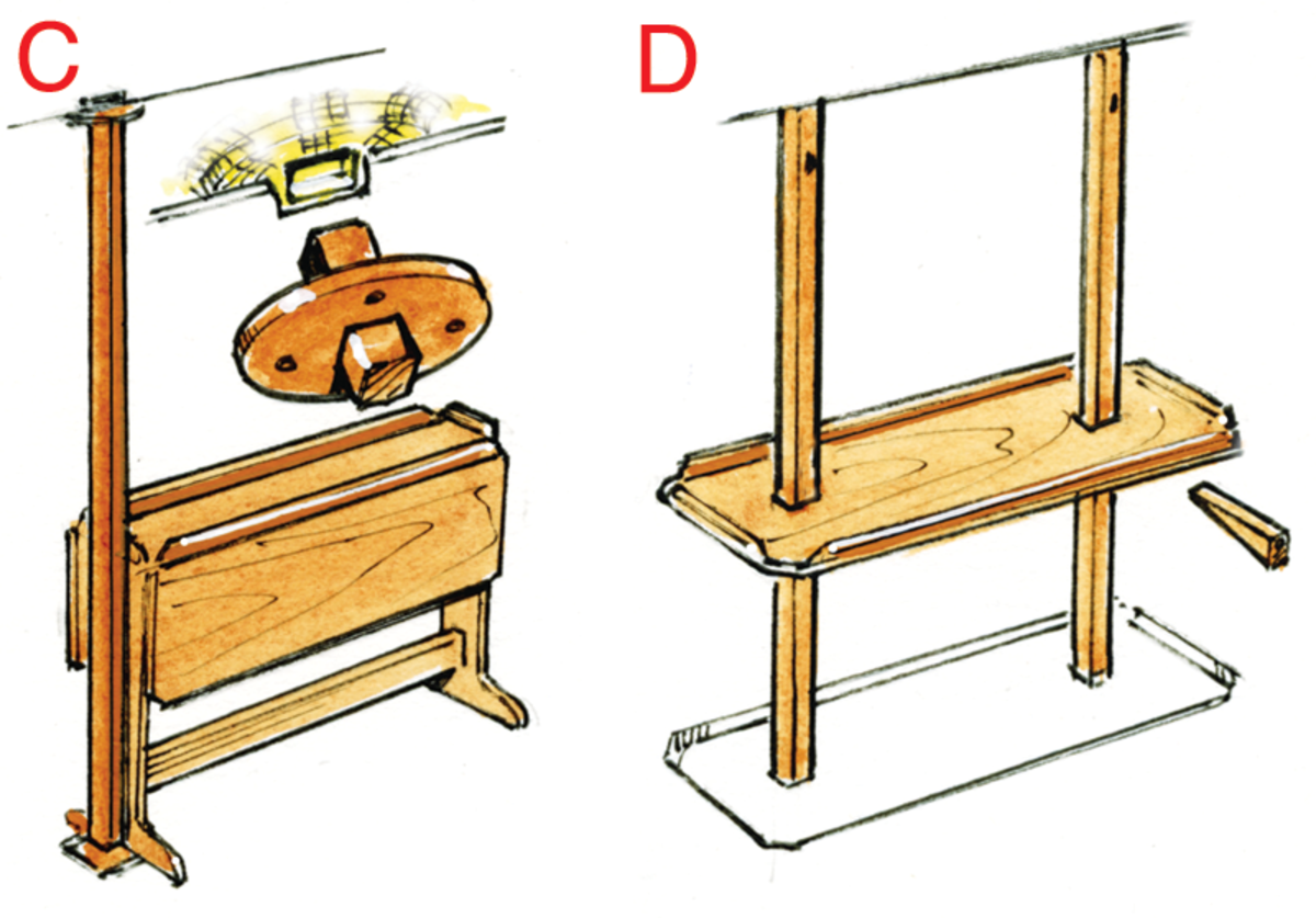 C. A handhold post will also add strength to a table. Attach blocks to the deckhead and sole, fit the post to the blocks and then cover the hole in the headliner with a plate. D. Older boats often used strong posts with the tabletop held in place with wedges. The top could then be stowed up at the headliner or down on the cabin sole.
