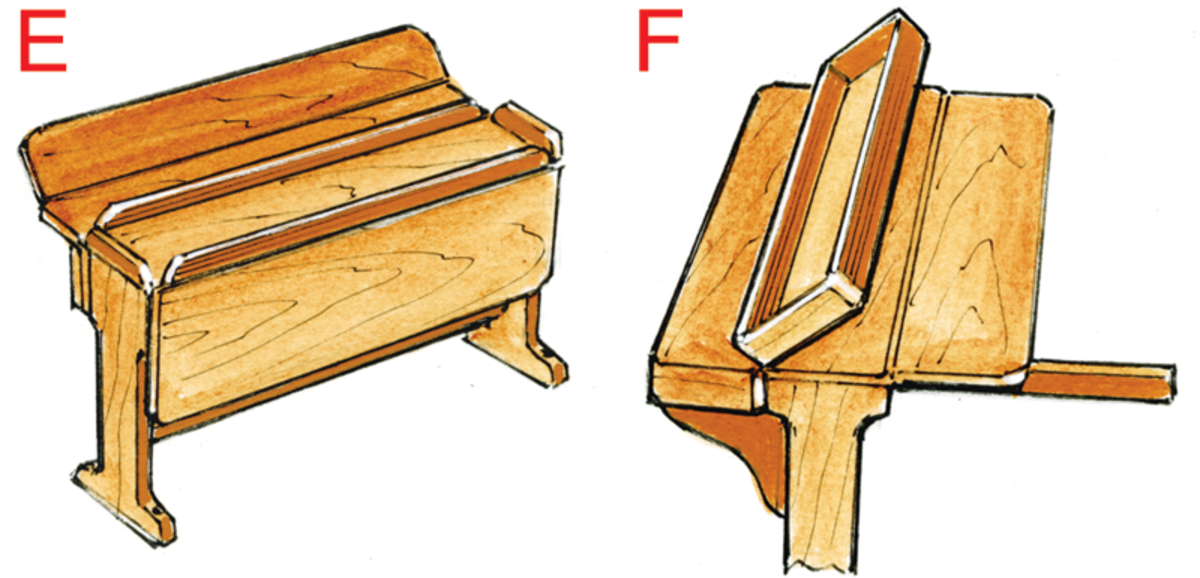 E. Tables can be made using any combination of leaves that fold out. Having large fiddles on the center section is a good idea when conditions are rough, but you might need a double-fold leaf to get your knees under the table. F. Many different types of foldout supports or slide-in beams can be used to support the leaves.