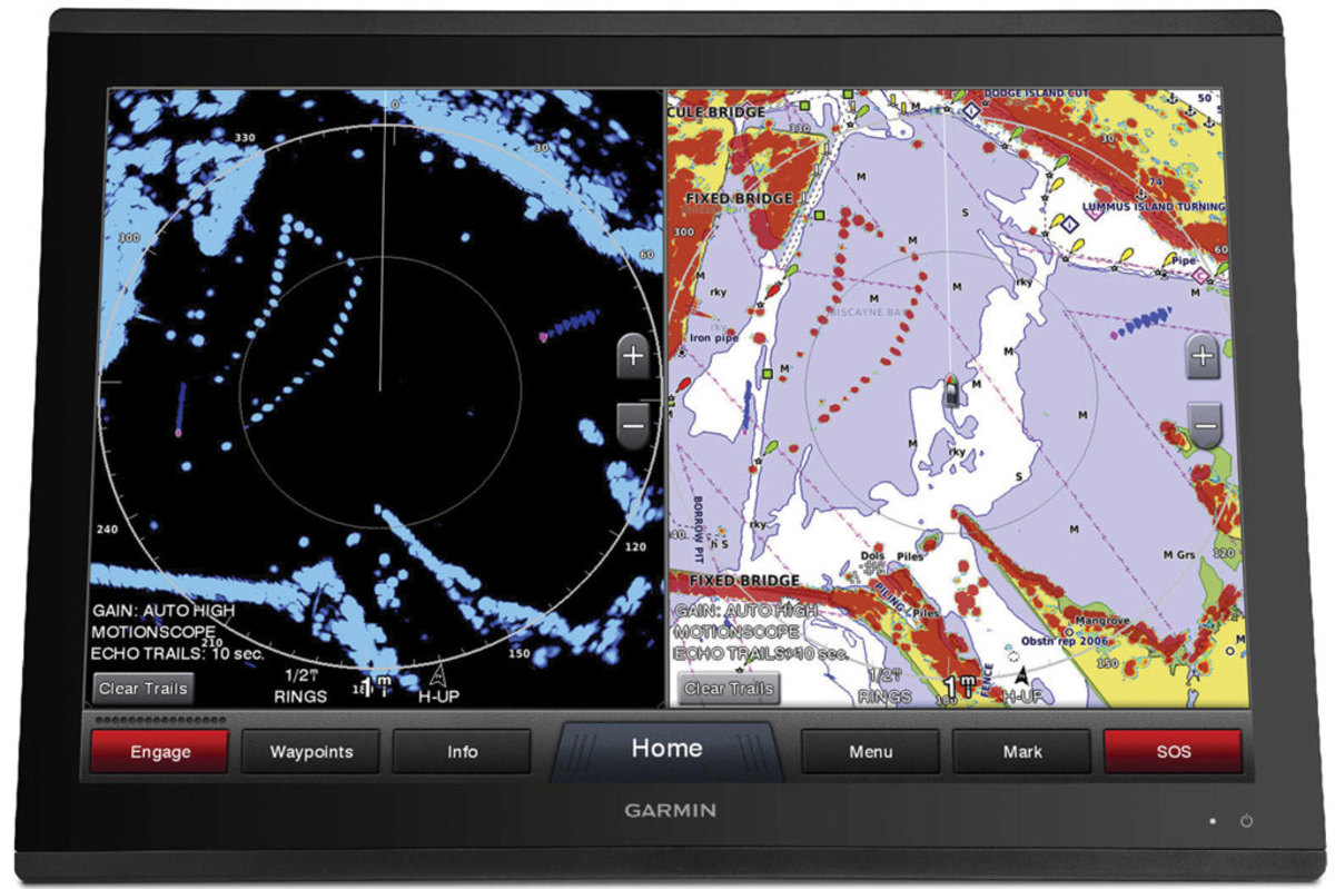 Garmin's GMR Fantom highlights moving targets in red with a blue trail