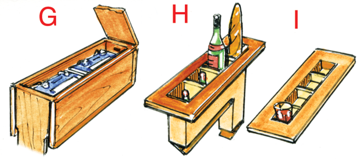 G. The center of the table can be a locker and I've seen one boat that keeps batteries there to power the sewing machine. Because these batteries are located fairly high, they could also run an emergency radio if the main batteries become flooded. H. Another interesting arrangement is a wine or liquor locker and baguette holder; both should have hinged bottoms for easy cleaning. I. The lid of a center section locker can have one or two deep recesses that will keep drinks in place. If the lid is made so it lifts out, it can be used as a tray for passing drinks up to the cockpit.