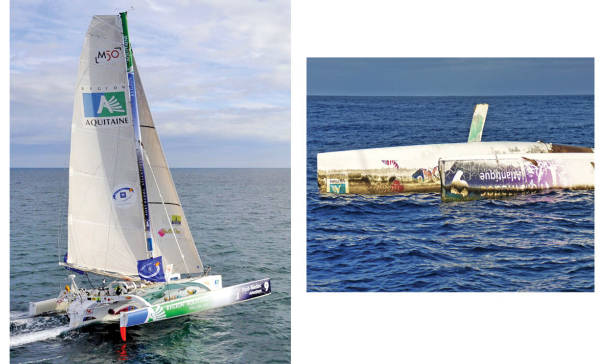 A delivery crew spotted this upturned racing trimaran in mid-Atlantic, five years after it capsized en route to France