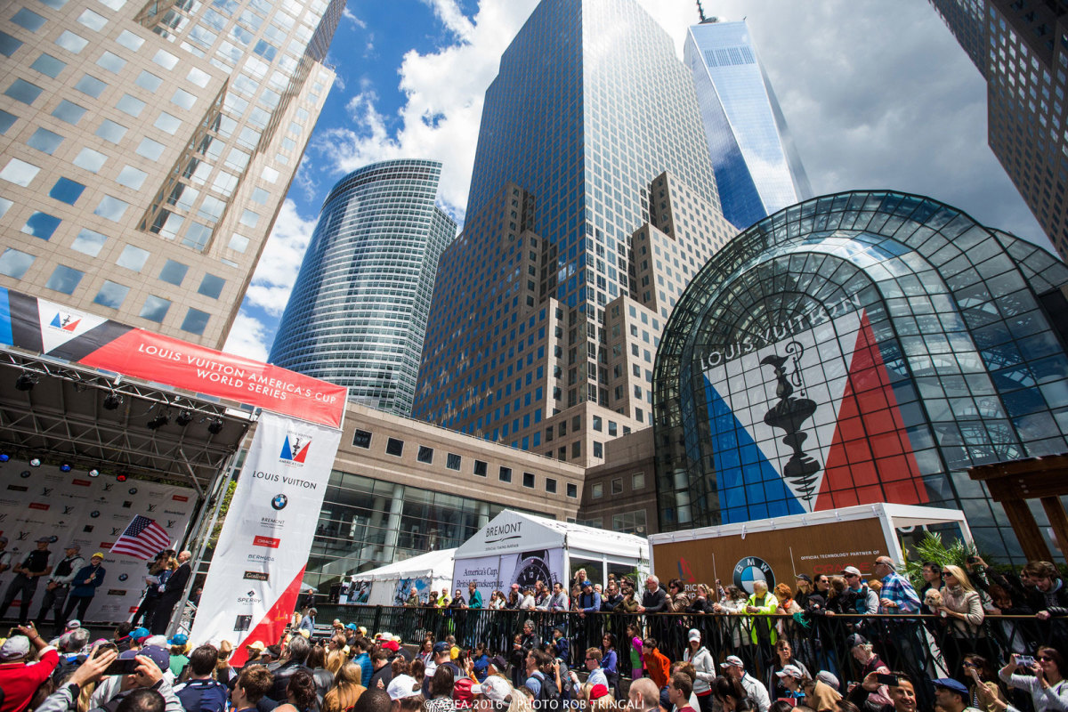 The bustling scene on Sunday at the America's Cup race village at Manhattan's North Cover Marina. Photo by Rob Tringali