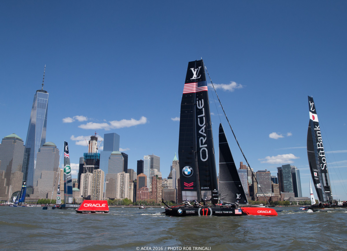 The Louis Vuitton Cup brought high-speed sailing action to the downtown Manhattan scene. Photo by Ron Triingali