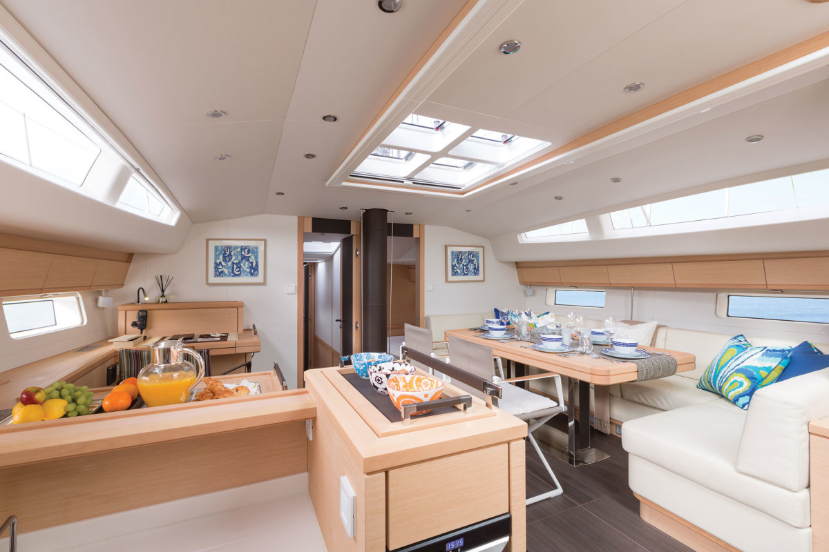 The Jeanneau 64's interior fit and finish is impeccable, with many stylish touches