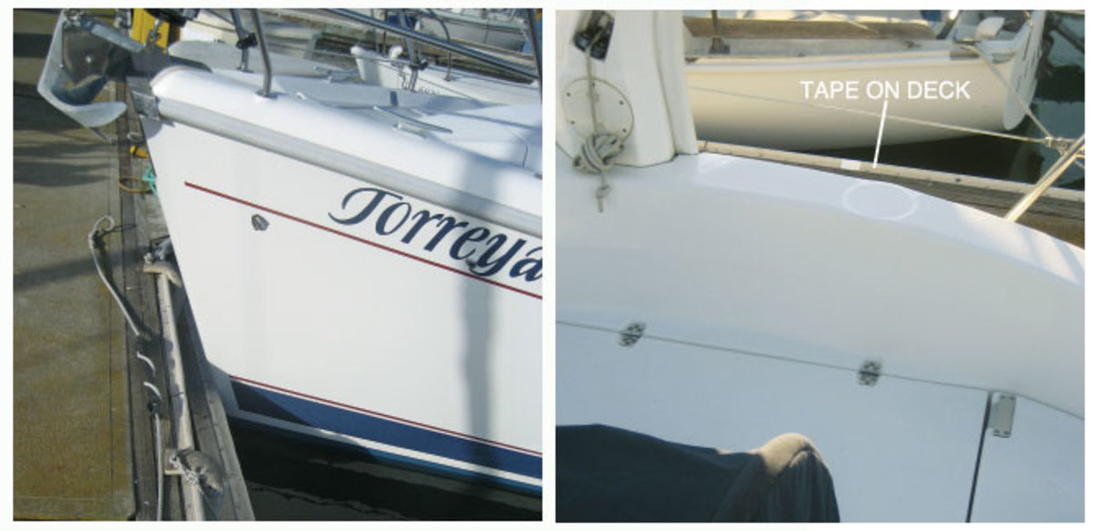 When the bow nudges the padding, applying a little more forward thrust on the engine will hold the bow against the padding (left); A mark on the dock tells the helmsman when the bow is going to make contact with the padding device (right)