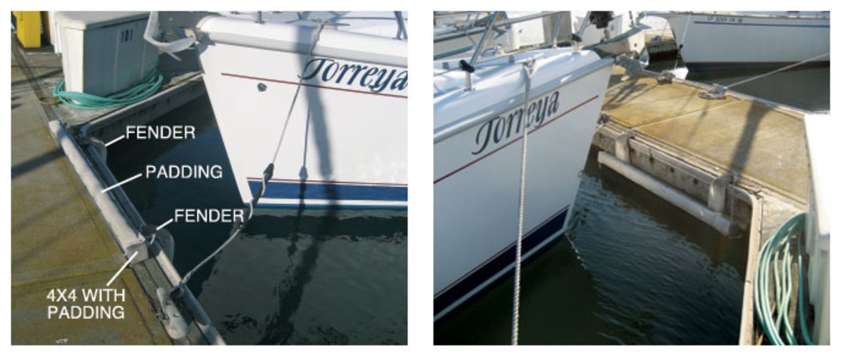 The author's padded bow fender system can be  retracted when not in use (left); How the system appears to an approaching helmsman (right)
