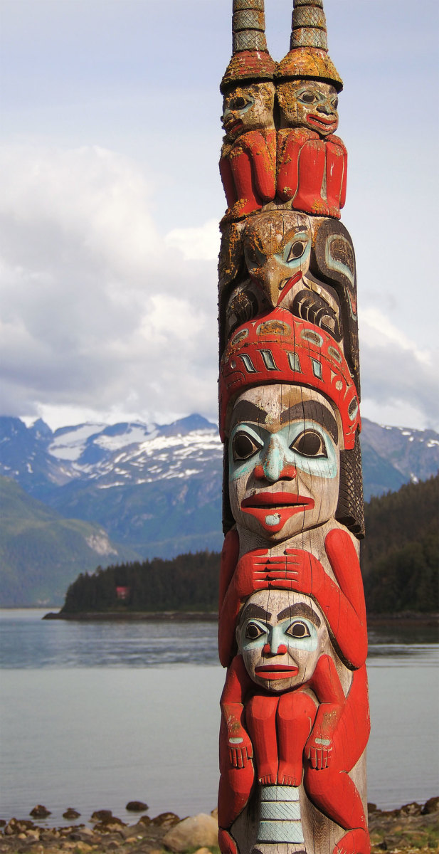 A carved Tlingit totem in Haines