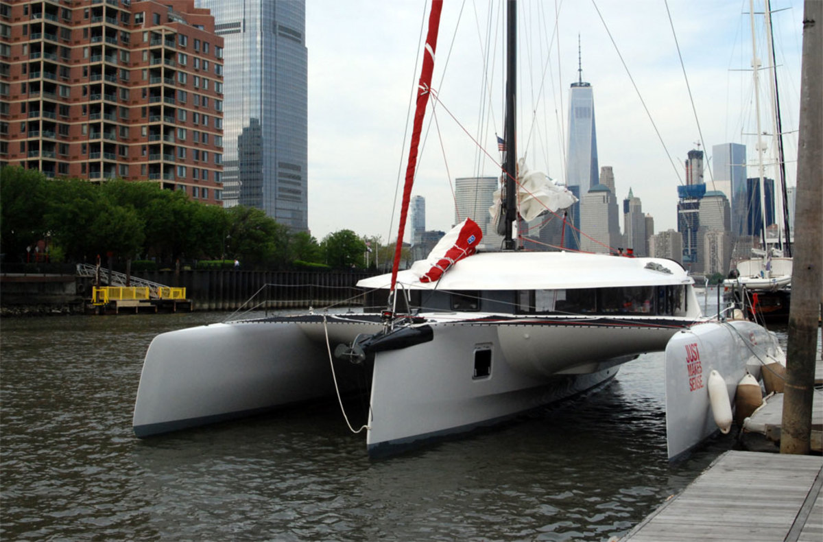 Safe and sound in New Jersey's Liberty Landing Marina, directly across the Hudson River from Manhattan