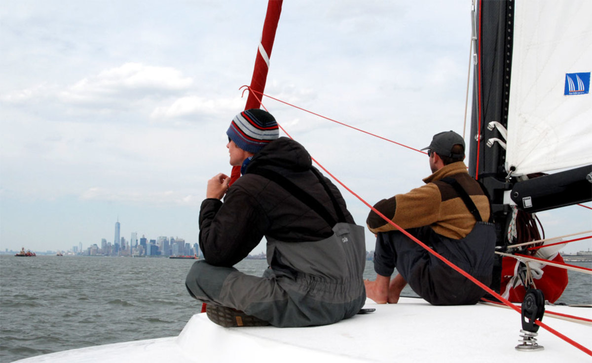 Greg and Patrick contemplate the wonders of New York Harbor