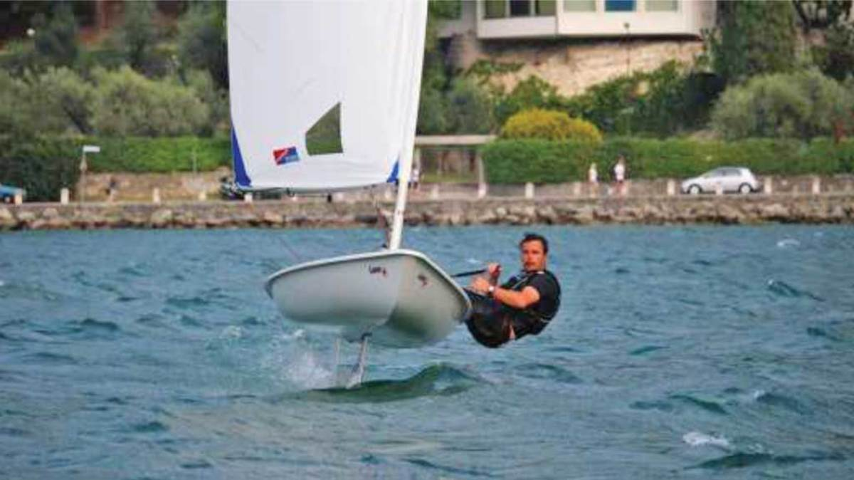 A conventional Laser retrofitted with a Glide Free foiling rudder and daggerboard. Image courtesy of Glide Free.