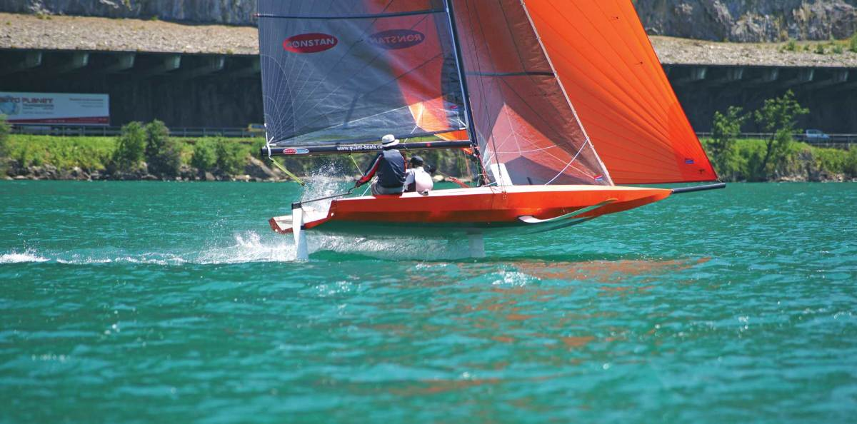 A diminutive Quant 23 scow takes to the air during sea trials. Photo courtesy of Quantboats