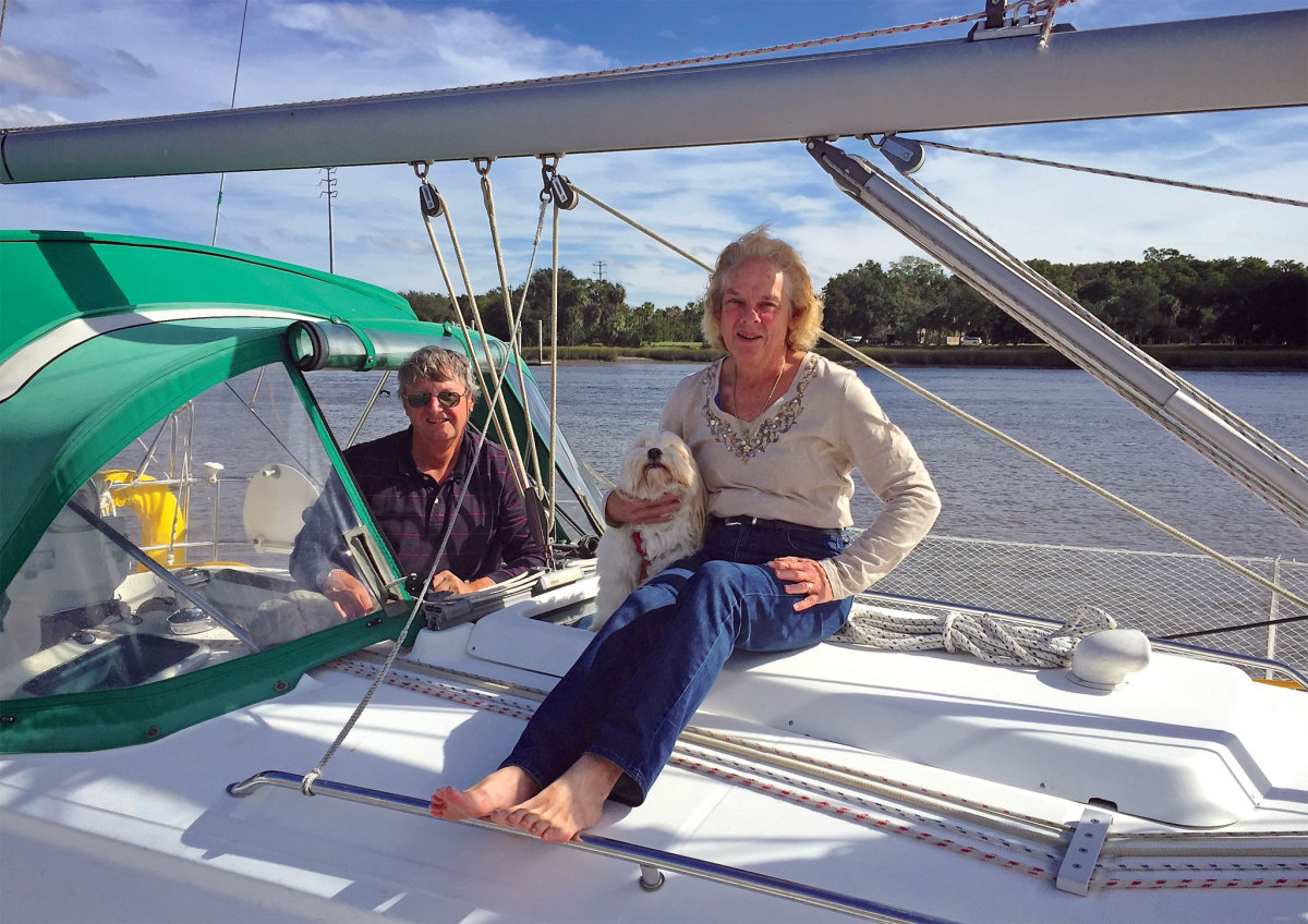 Frank and Carol Schubauer and shipmate Mollie on their Beneteau 33, Hakuna Matata