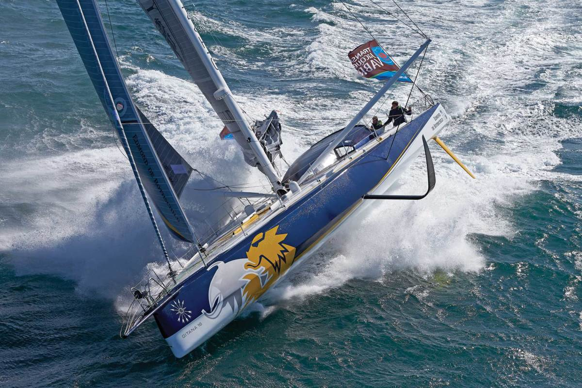 The curved DSS foils aboard the Open 60 Edmund de Rothschild do a lot more than just prevent leeway. Photo courtesy of Thierry Martinez/GITANA SA