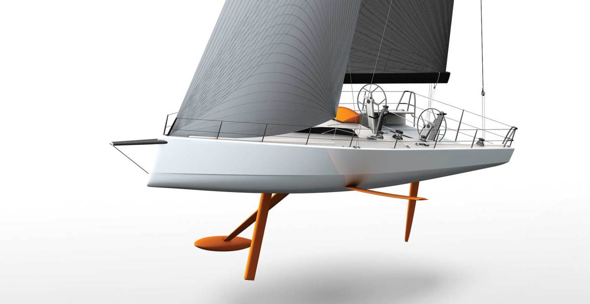 DSS lateral foils help increase the righting moment aboard the Farr-designed Infiniti 53. image courtesy of Farr yacht design