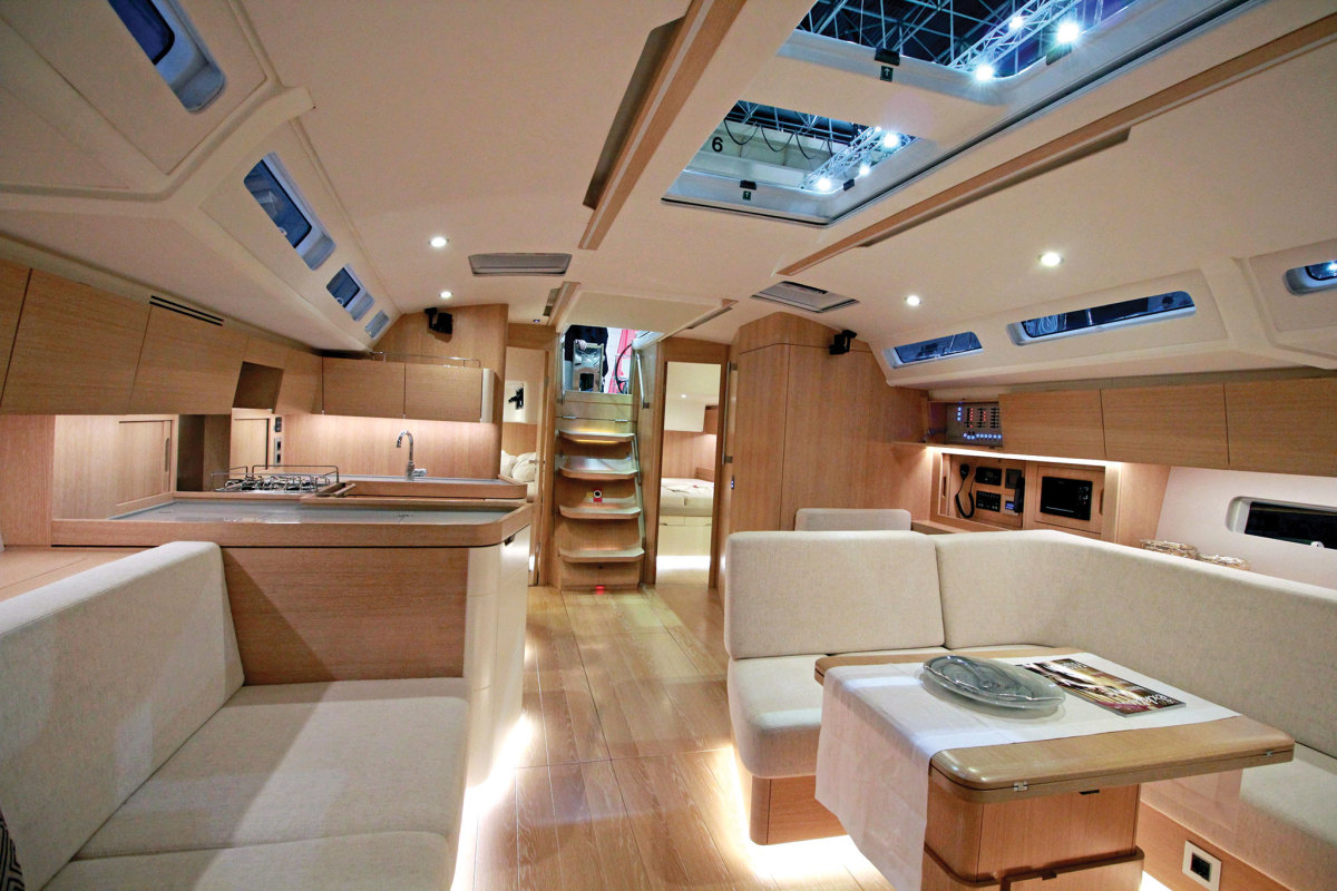The Details: Looking aft in the saloon toward the galley and nav station