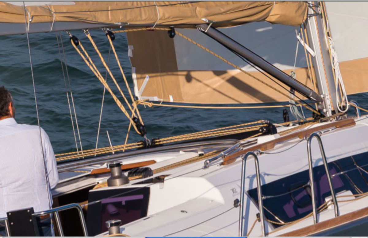 Drop the traveller in gusts to maintain control while retaining good sail shape. Photo courtesy of Dufour