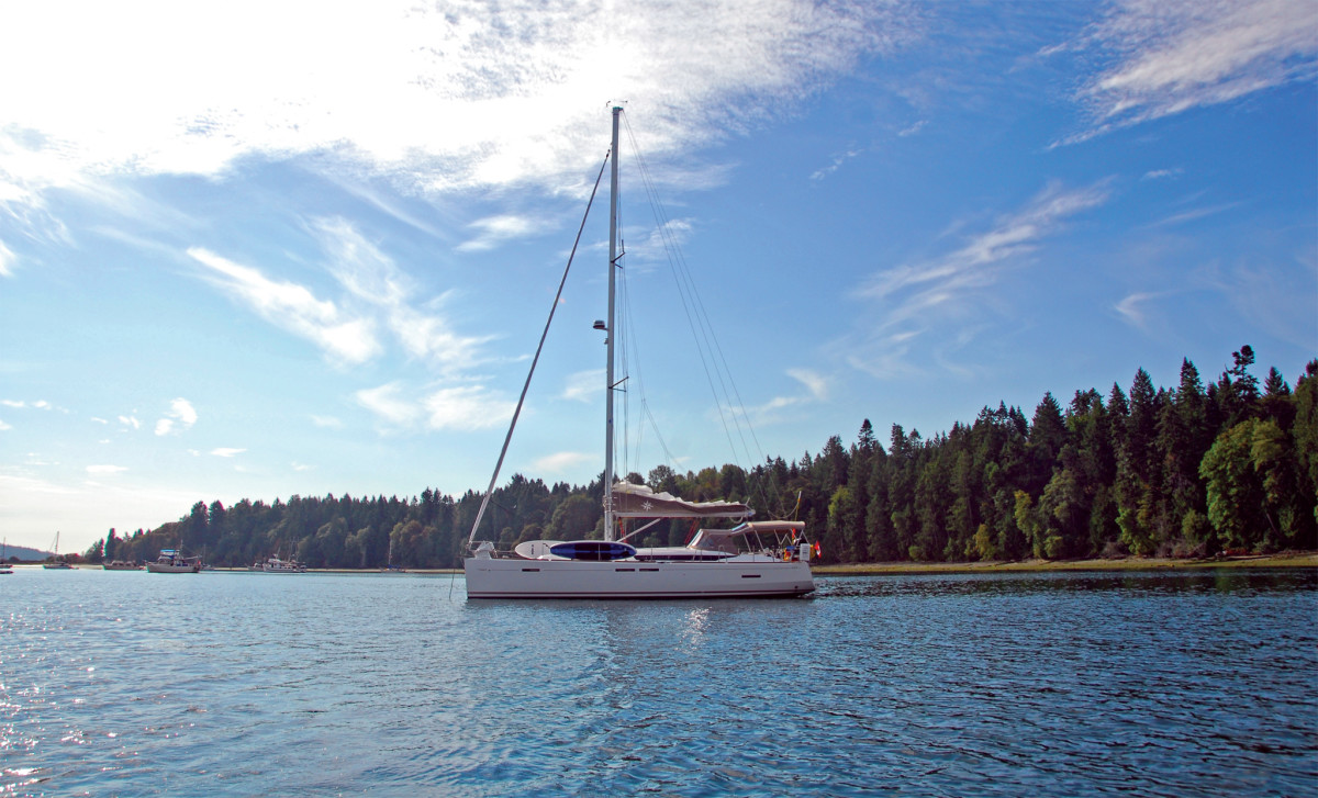 Morning at anchor off Thetis Island