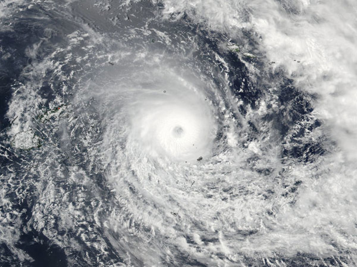 image released by NASA Goddard Rapid Response on Friday shows Cyclone Winston in the South Pacific Ocean