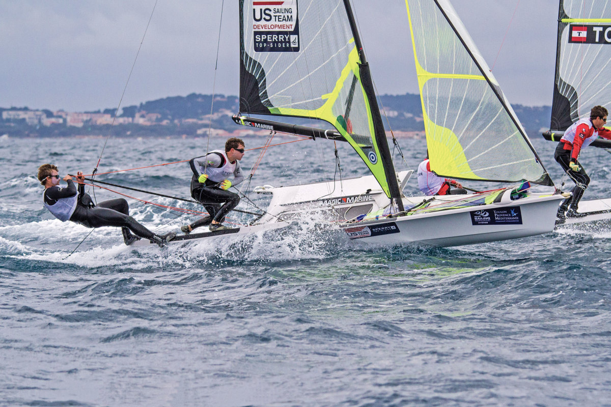 Thomas Barrows and Joe Morris competing aboard their 49er. Photo courtesy of ussailing