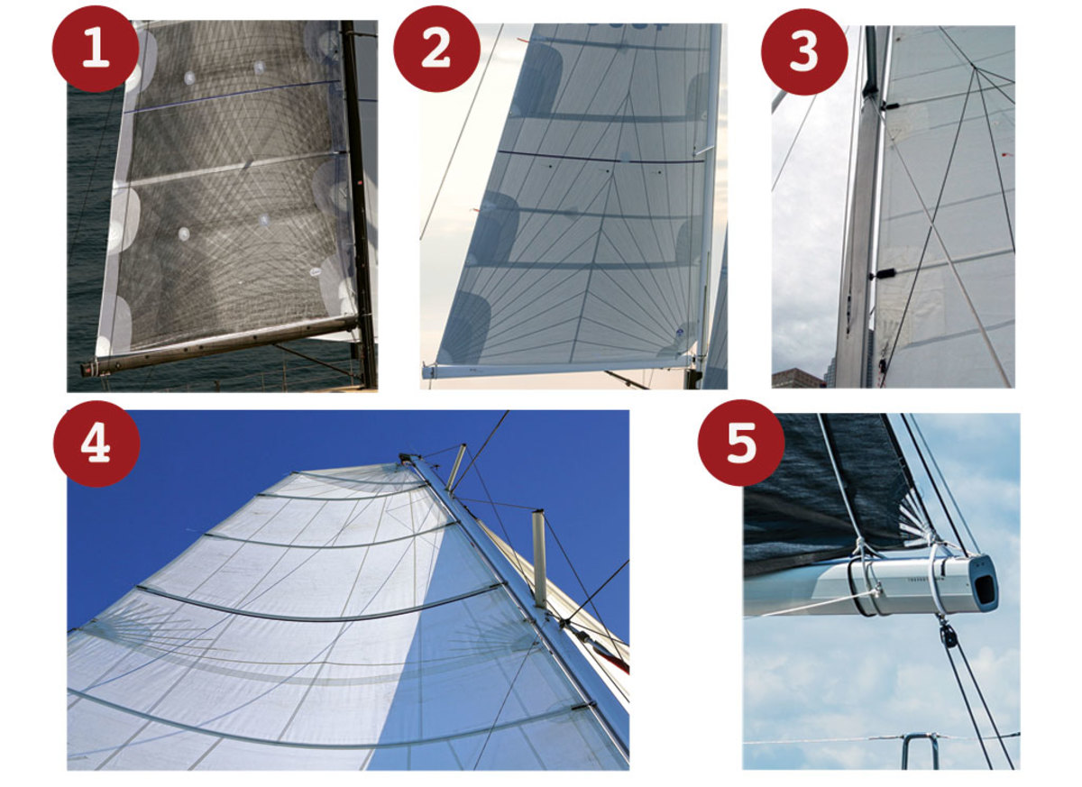 1.A loose-footed high-performance laminated main, with the clew secured by a Velcro strap. 2.This sail is built of laminated panels assembled in a radial pattern. 3.The batten cars on this sail keep it from binding in the luff track. 4.The full-length battens on this multihull main support a massive roach. 5.A close up of a Velcro clew strap