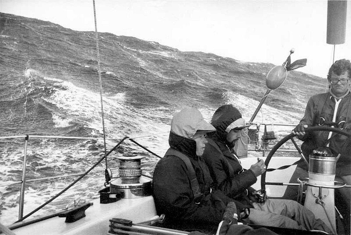 John Rousmaniere steering in 79Fastnet storm