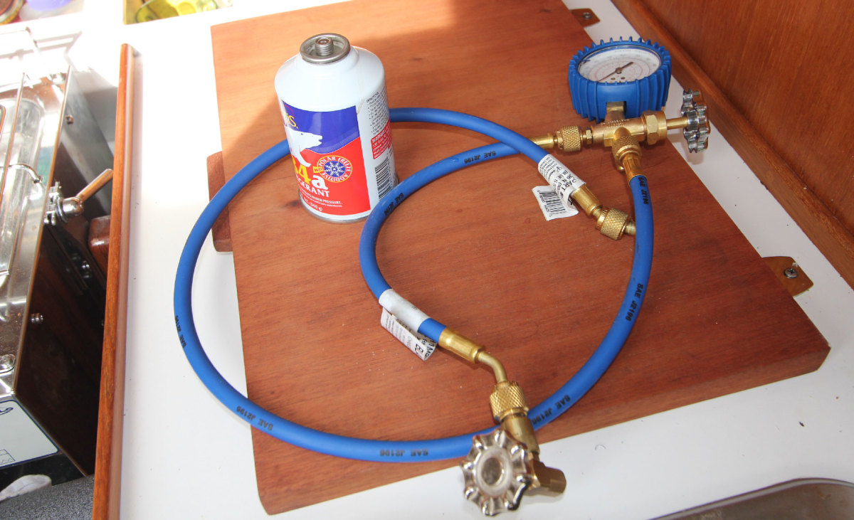 1 I ordered a single gauge and hose combo from great-water.com—it was expensive, but cheaper than paying a fridge mechanic (had I been able to coax one out to the boat), and it came with clear instructions. I bought the R-134a refrigerant over the counter at an auto parts store. This setup can be used to recharge any system with a Danfoss compressor.