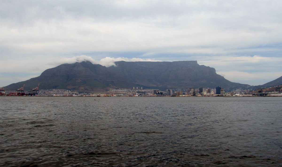 The famed Table Mountain, seen from Cape Town Harbor