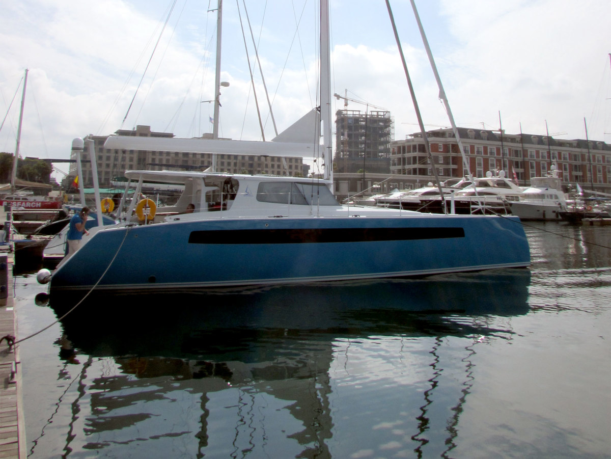 Hull number one of the Balance 526 in Cape Town Harbor.