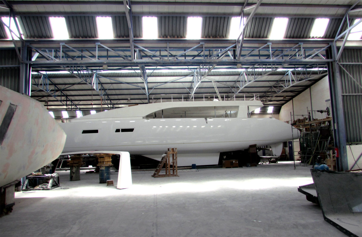 A 76ft daysailer gets the finishing touches at the Matrix yard