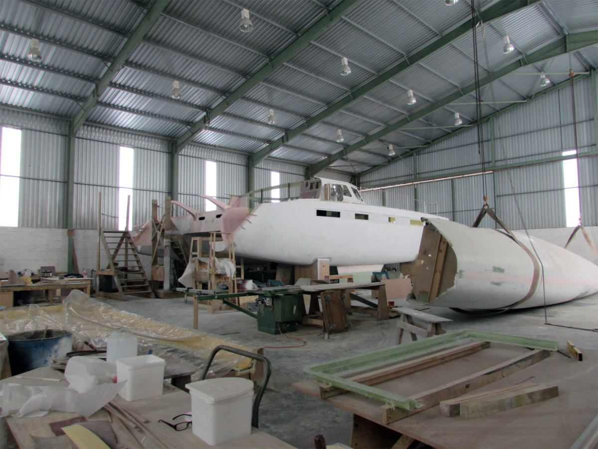 Hull number 2 of the Balance 526 under construction at the Nexus yard