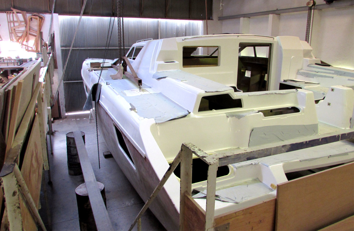 Hull number 20 of the St. Francis 50 in the build process
