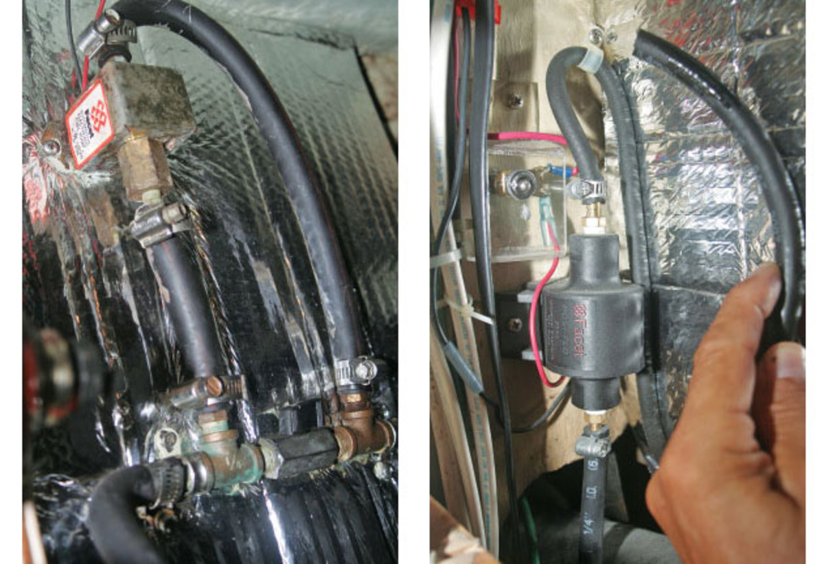 A fuel line runs from the Racor filters to the engine; T-fittings allow the bleed fuel pump to tap into the fuel line (left); A 12-volt pump draws fuel from a dedicated pickup line on the fuel tank, allowing it to be used to fill the Racor filters or possibly a jerry can (right)