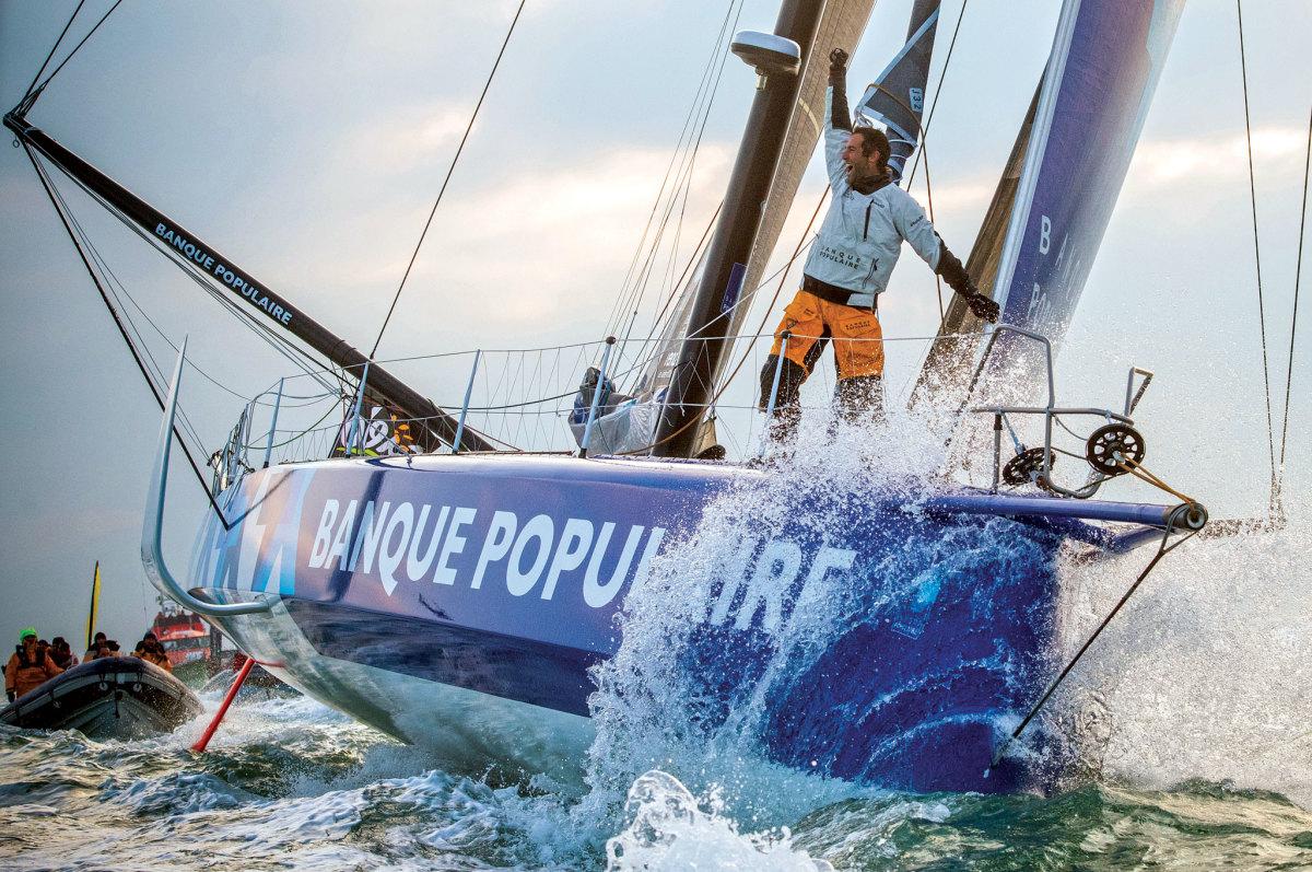 Armel Le Cléac'h celebrates his record-setting Vendée Globe