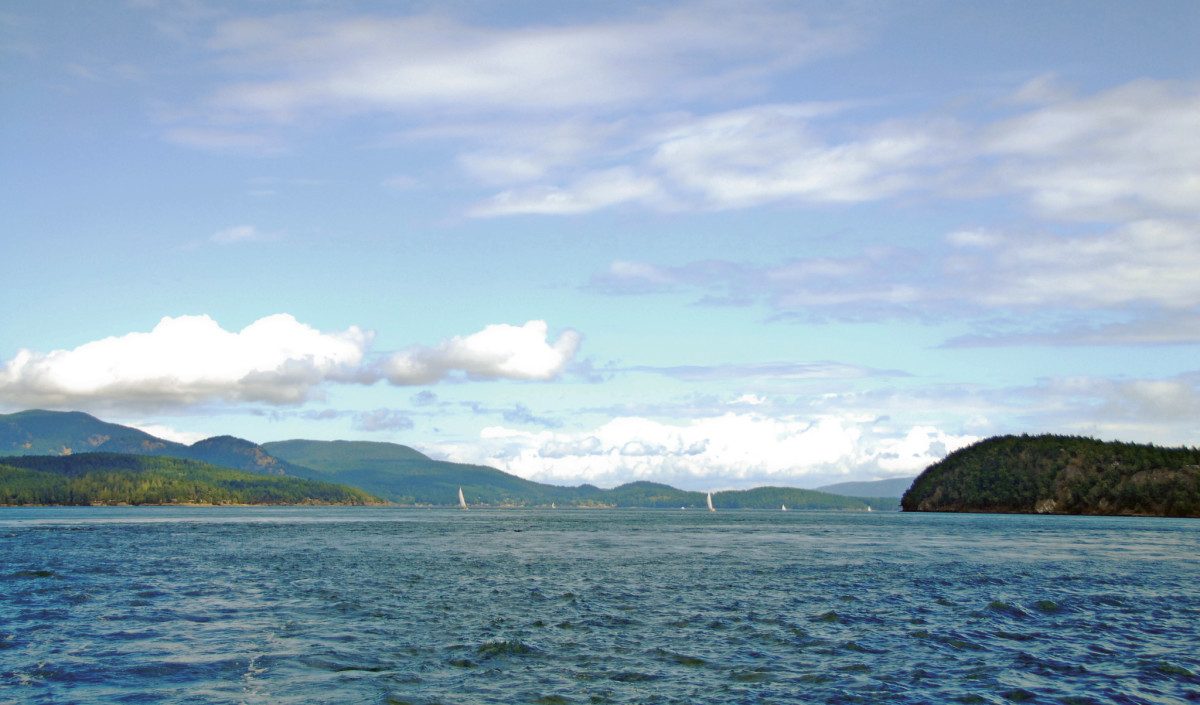 A windy day has plenty of sailors out on the water as we cruise out of Orcas Island
