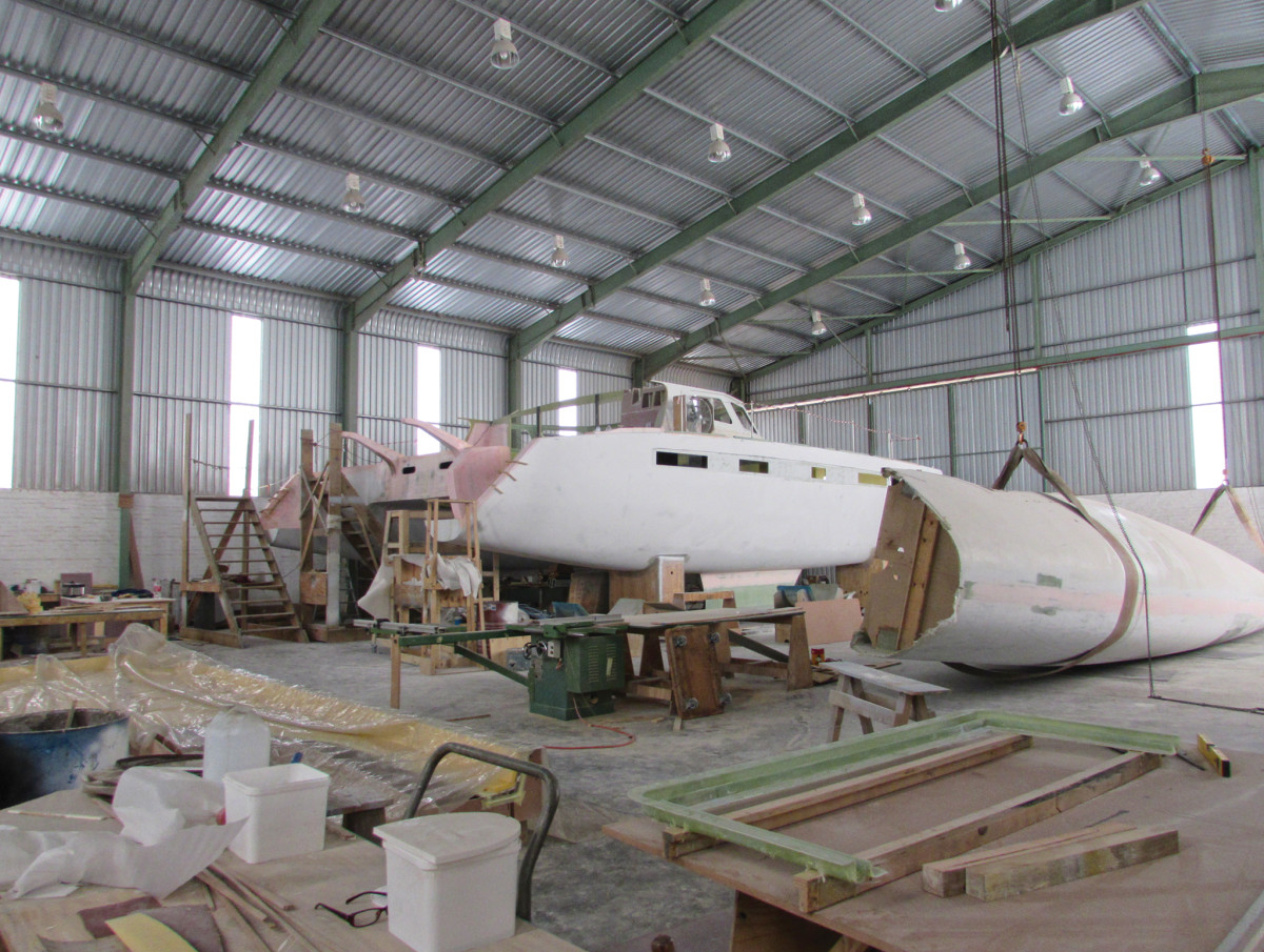 Hull #2 of the Balance 526 under construction at the Nexus yard in St. Francis Bay
