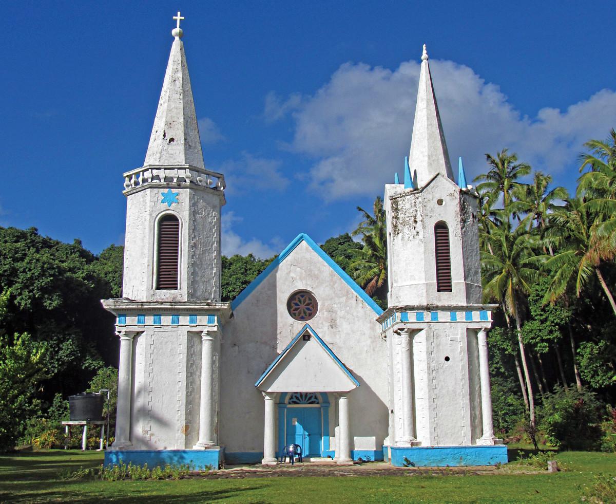 The church of Église Nôtre-Dame-de-la-Paix on the island of Akamaru